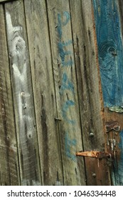 Old Barn Door With 1960s Graffiti