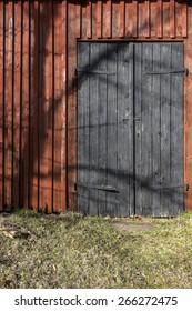 Old barn door in rural environment