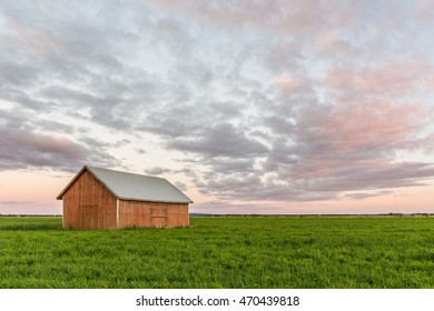 An old barn in a field at sunset