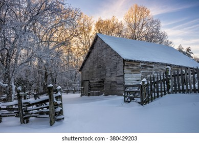 Old barn and fresh snow at the Cumberland Gap National Park
