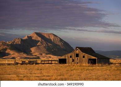 Old barn in front of Bear Butte from Nine Mile Road near Sturgis, South Dakota
