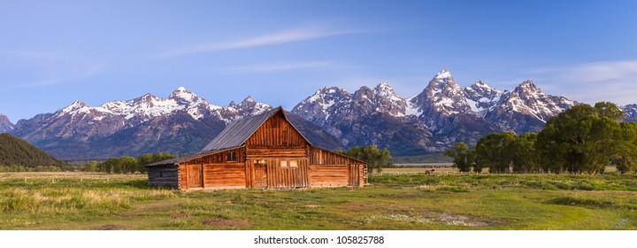 Old barn in front of the Grand Tetons in Wyoming