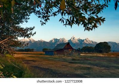 Old barn at Mormon Row Historic District, Grand Teton National Park, Wyoming, USA