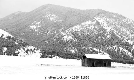 Old barn next to the Bridger Mountains