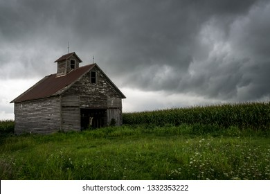 Old barn on a stormy summers day in north central Illinois.