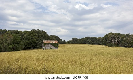 An old barn in a pasture