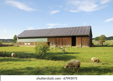 Old barn with photovoltaic on the roof