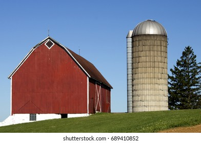 An old barn and silo on a Wisconsin dairy farm.
