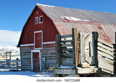 Old barn in the snow in Colorado