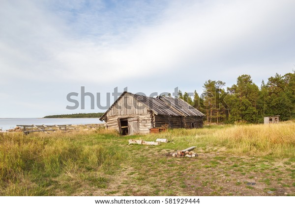 Old barn in Sosnovka on the Big Solovetsky Island