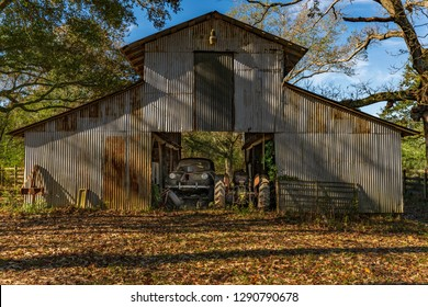 OLD BARN with tractor & vintage car