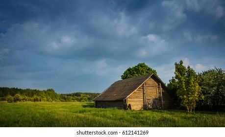 old barn under the stormy sky