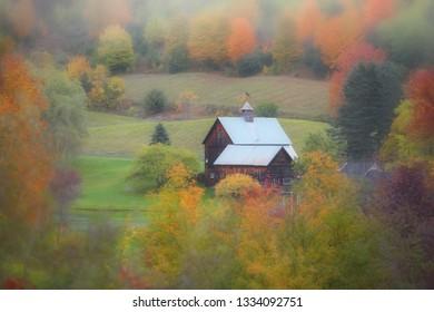 Old barn in Vermont caught in mist