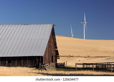old barn with wind generator