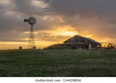 Old barn and windmill in South Dakota
