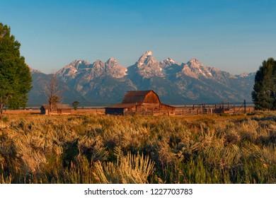 Old barns at Mormon Row Historic District, Grand Teton National park, Wyoming, USA