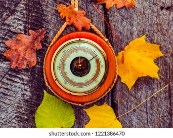 Old barometer, autumnal leaves all are on textured wooden surface  Concept of forecasting. Translations from German to English are: sturm is storm; veranderlich is changeable; schone is enjoyable