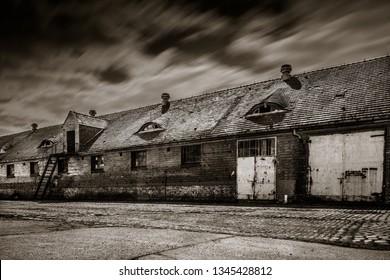 old barracks at night