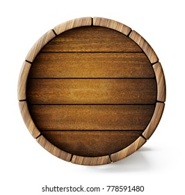 old barrel background isolated on white. 3d illustration