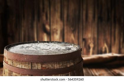 Old barrel top for display montages