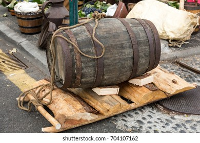 old barrels and tools for wine production