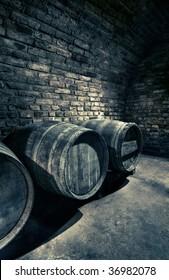 old barrels in a vault, hdr image
