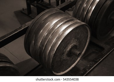 Old bars of barbell, gym equipment