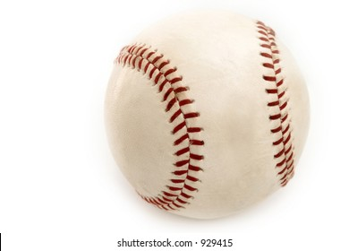 Old Baseball on White Background