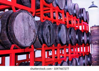 Old basement with barrels of beer