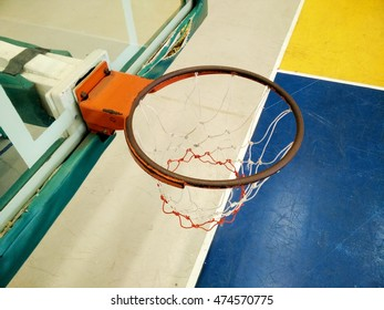 Old Basketball hoop in the public arena