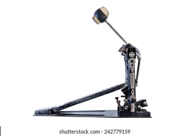 old bass drum pedal isolated .side view