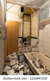 old bathroom interior before complete reconstruction