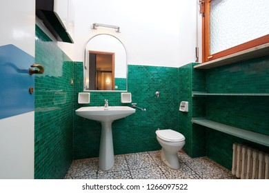 Old bathroom in normal apartment interior