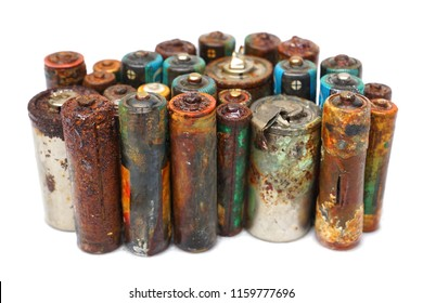 Old battery leak isolated / Hazardous waste concept