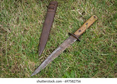 Old bayonet removed from the cover on the grass