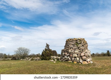 Old beacon in a landscape by Hogenas on the swedish island Oland