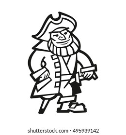 Old bearded one leg pirate in tricorn standing illustration