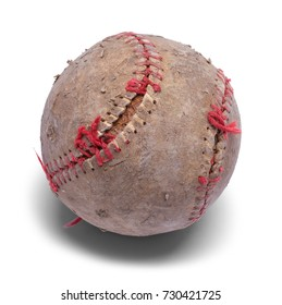 Old Beat Up Baseball Isolated on a White Background.