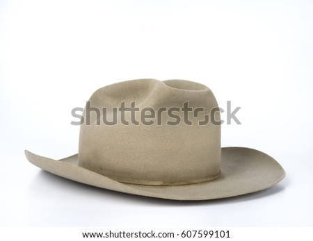 14d28143984 Old Beat Tan Cowboy Hat On Stock Photo (Edit Now) 607599101 ...