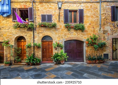 Old beautiful city in the sun of Tuscany, Pienza, Italy