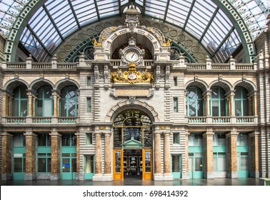 The old beautiful railway station in Antwerpen Belgium