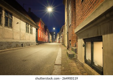 old and beautiful streets of the city at night in Helsingor