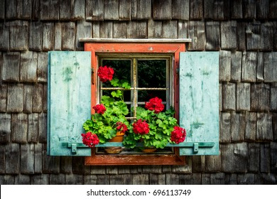 Old beautiful windows with flowers