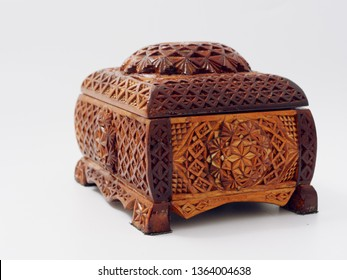 old beautiful wooden box on a white background