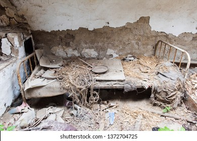 Old bed in an abandoned house