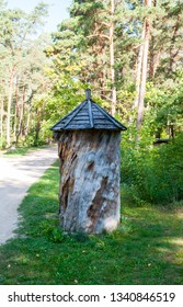 Old beehive in the forest. Warm bright summer day.