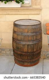 Old beer barrel made of wood