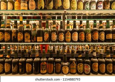 Old Beer Bottles at the  Visit Carlsberg,Copenhagen-Denmark 24-09-2013