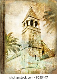 old belfry (Croatia) - picture in retro style