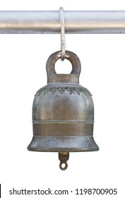 Old bell isolated on white background with clipping path, Thai style in temple